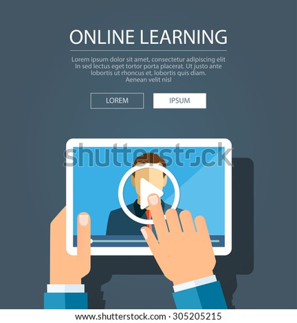 Vector flat illustration of webinar, online conference, online learning, lectures and training in internet. - stock vector