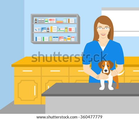 Vector flat illustration of young smiling woman veterinarian holding a dog at the table in veterinary office. Pets health care horizontal banner. Cartoon concept - stock vector