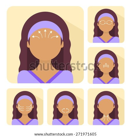 Vector flat illustration on sticker: face massage instruction demonstrated on young beautiful latina woman - stock vector