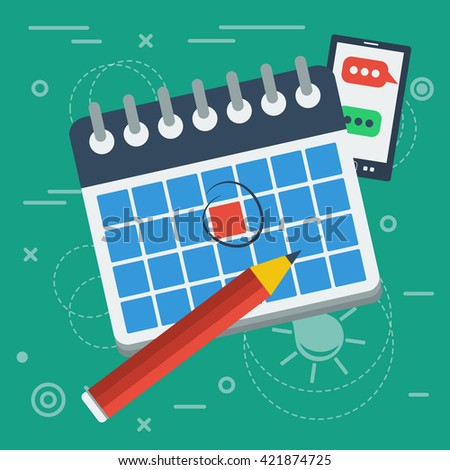 Vector flat illustration spiral calendar icon with red marked one day and pencil. On lined green background - stock vector