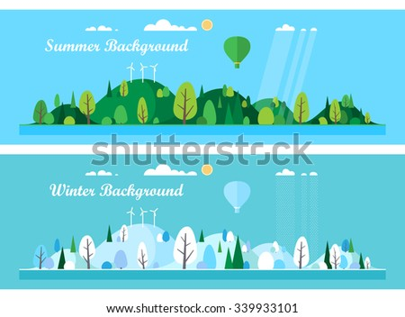 Vector flat illustrations - Eco style life. Abstract forest. Wildlife. Forest view.  - stock vector