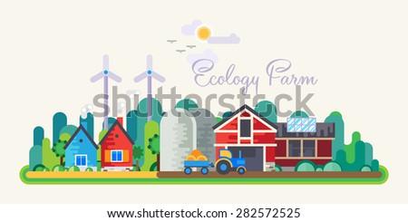 Vector flat illustrations - Eco style life. Eco farm. Green energy. - stock vector
