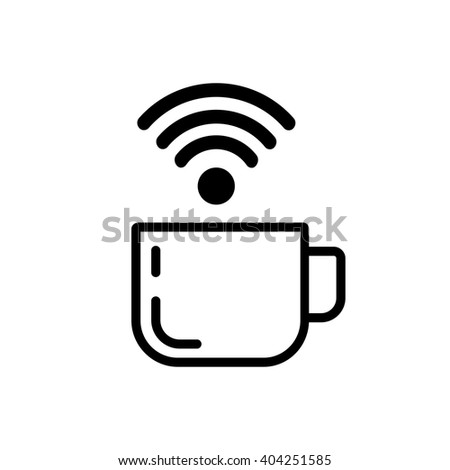 Vector flat image. Icon of coffee and wi-fi, Internet - stock vector