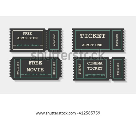 Vector flat invite tickets. Cinema tickets - stock vector