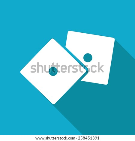 Vector flat isolate dice icon isolated on blue background. Eps10  - stock vector