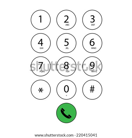 vector flat keypad for phone  - stock vector