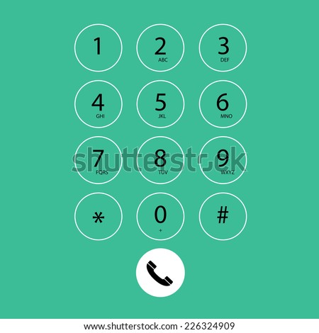 vector flat keypad for phone on green background  - stock vector