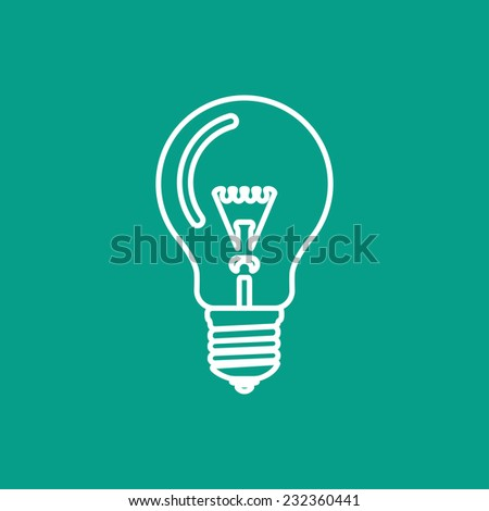 Vector flat  lightbulb icon isolated outline. Eps10 - stock vector