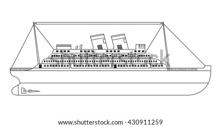Vector flat  line an illustration with the image of a retro of the cruise liner  - stock vector