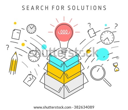 Vector flat line solution concept illustration represent process of solving a problem. Solution vector conceptual image depict searching for solutions, ideas, analysis, strategy and thinking. - stock vector