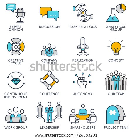 Vector flat linear icons related to business management, strategy, career progress and business process. Flat pictograms and infographics design elements - part 1