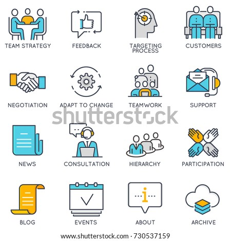 Vector flat linear icons related to business management, strategy, career progress and business process. Flat pictograms and infographics design elements