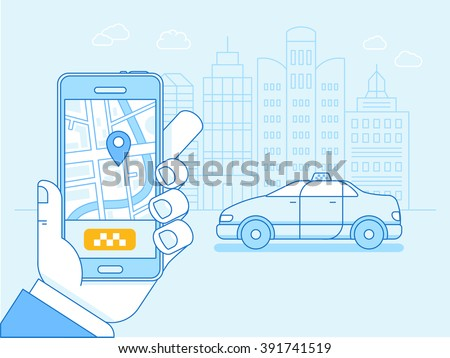 Vector flat linear illustration in blue colors - taxi app on the screen of the mobile phone with street map and location pointer - order card driver online