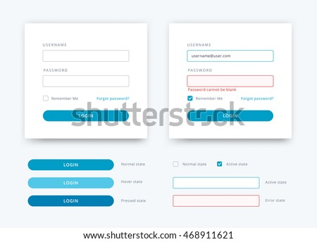 Vector flat log in template. Login web elements