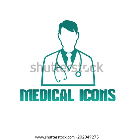 Vector flat medical icon or logo with male doctor therapist - stock vector