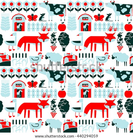 Vector flat minimalistic seamless pattern with farm and animals - stock vector