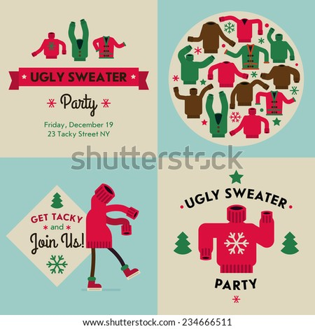 Vector flat modern creative concept design on christmas ugly sweater party | Tacky sweater party invitation design elements - stock vector