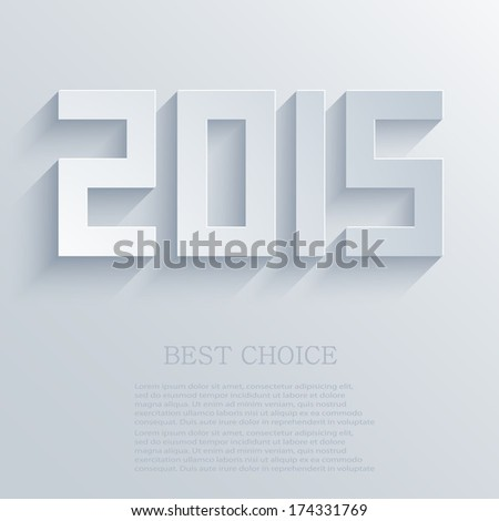 Vector flat modern 2015 new year background - stock vector