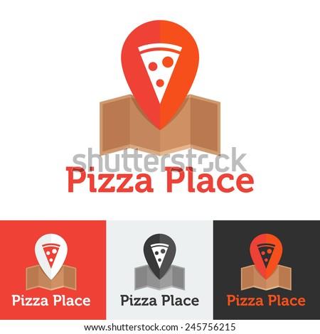 Vector flat modern pizza restaurant or delivery logo set - stock vector