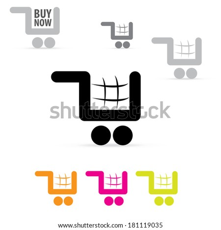 Vector flat modern shopping cart color icons. shopping symbol