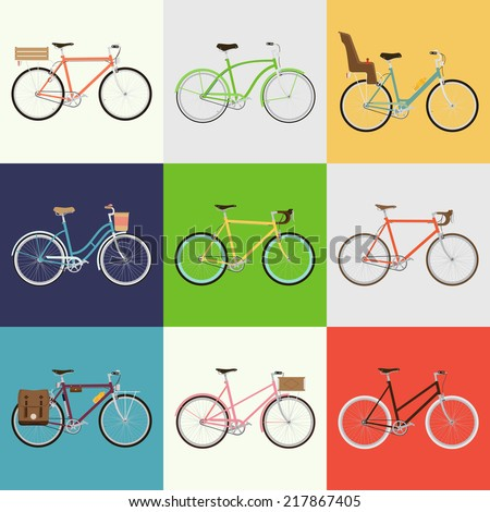 Vector flat modern urban, town and city bicycles set | Various different bicycles with wooden crates, baby seats, travel and touring bicycle, pink bicycle, white tires, carbon wheels and more - stock vector