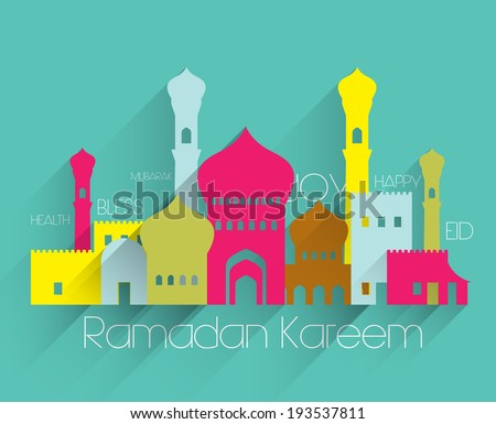 Vector Flat Muslim Mosque Graphics. Translation: Ramadan Kareem - May Generosity Bless You During The Holy Month. - stock vector