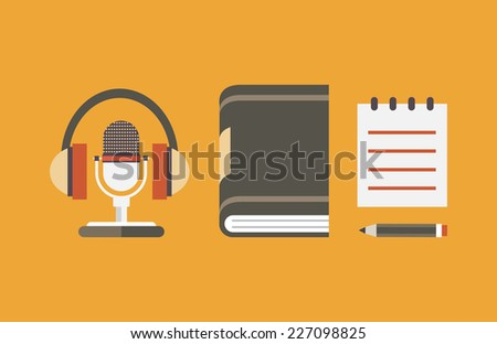 Vector flat objects for audio podcast - vector illustration  - stock vector