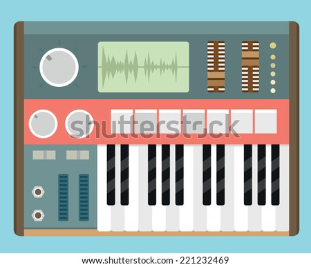 Vector flat old analog synthesizer - vector object - stock vector