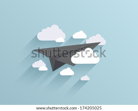 Vector flat origami airplane icon background. Eps10 - stock vector