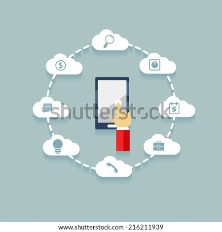 Vector flat phone with hand and cloud infographic elements on blue background - stock vector