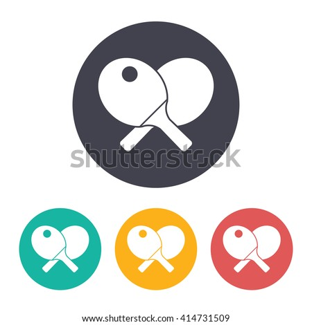 Vector flat ping-pong icon with set of 3 colors  - stock vector