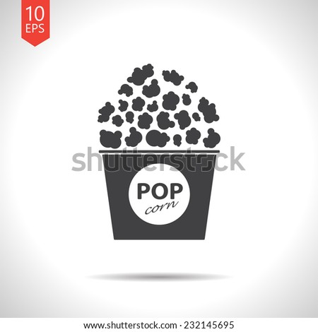 Vector flat popcorn icon isolated on white. Eps10 - stock vector