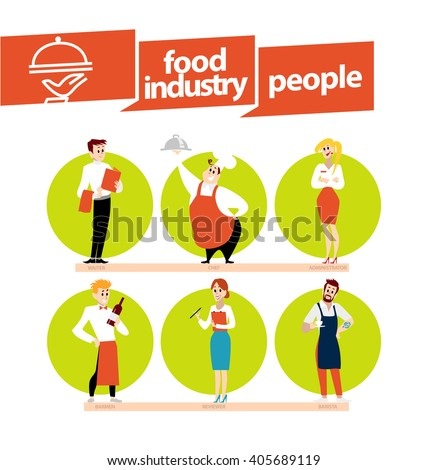 Vector flat profession characters. Human profession icon. Friendly people portrait. Woman, lady, girl icon. Man, boy icon set. Food industry worker isolated. Restaurant people. - stock vector