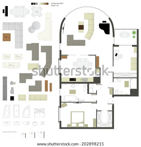 Vector flat projection with furniture. Set. - stock vector