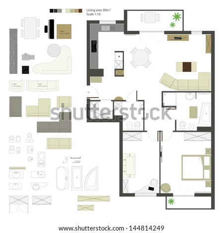 Vector flat projection with furniture. Set. Scale of 1 to 10 - stock vector