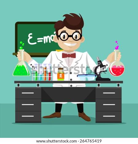 Vector flat scientist illustration - stock vector
