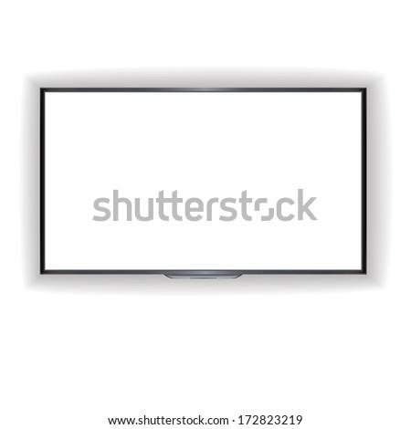 vector flat screen TV LCD, led plasma, monitor - stock vector