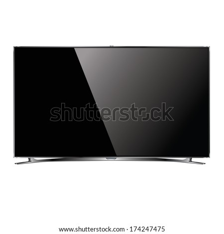 vector flat screen TV LCD, led plasma, monitor - stock vector