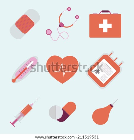 Vector flat set of icons for medical emergency - first aid kit symbols, pictograms collection. Needle, syringe, health, cardiology, capsule, drug, tablet, equipment, enema, clyster. - stock vector