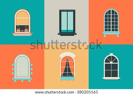 Vector flat set of icons for windows with pane. Rectangle and oval shape glass. Balcony with curtains, vase, shutter. New clean plastic arch. - stock vector