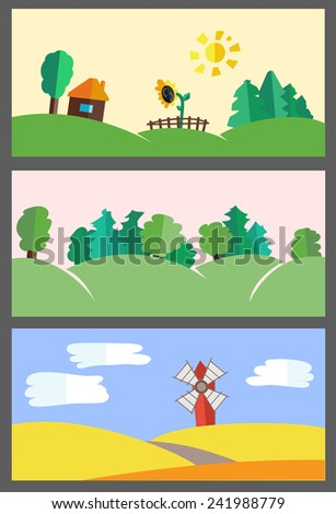 Vector flat set of illustrations - backgrounds nature. Hills, forest, field and house in village - stock vector