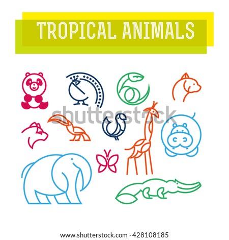 Vector flat simple minimalistic tropical animal logo. Animal icon, animal sign, symbol isolated on white background. Nature park, national zoo, pet shop logo, animal food store logo. - stock vector