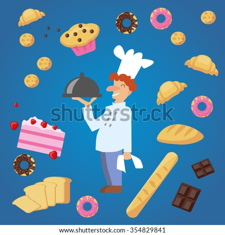 Vector flat smiling baker with the flying bakery products, cakes, donuts, biscuits, bread, loaf, cookies. croissant on gradient blue background. Flat design for cooking sites, brochure, booklet - stock vector