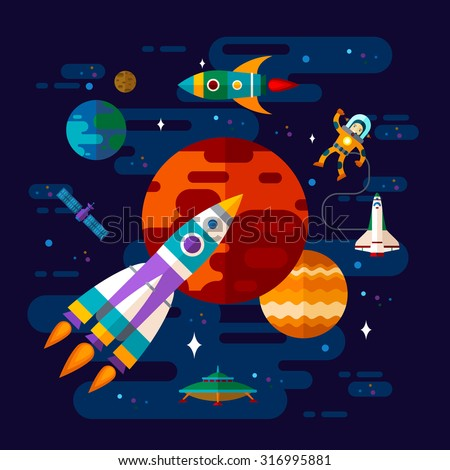 Vector flat space elements with spaceship, ufo and planets. - stock vector