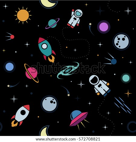 Cartoon space illustration set astronaut planet stock for Outer space pattern