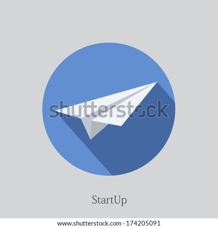 Vector flat startup icon on sample background - stock vector