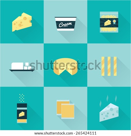 vector flat style all kind of cheese icon set - stock vector