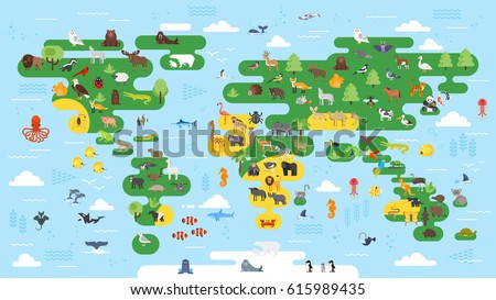 Vector cartoon style set bear character stock vector 1038609232 vector flat style big abstract world map with animals colorful vector illustration for children with gumiabroncs Image collections