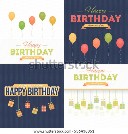 Vector Flat Style Happy Birthday Message, Celebration, Greeting Card Design Set. Congratulations Banner or Postcard Template