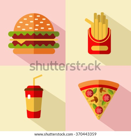 Vector flat style icons set of fast food, junk food with long shadow. Hamburger, french fries, soda and slice of pizza. - stock vector